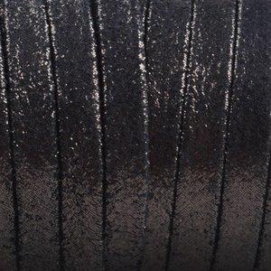 Zwart Plat nappa Leer Zwart metallic dots 5x1.5mm - prijs per cm