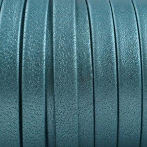 Turquoise Plat nappa Leer Turquoise metallic 5x1.5mm - prijs per cm