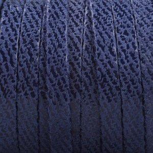 Blauw Plat nappa Leer Jeans blue stripes 5x1.5mm - prijs per cm