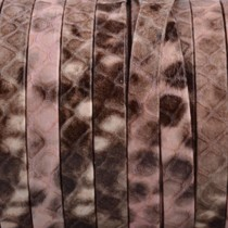 Roze Plat nappa Leer Zalm bruin python 5x1.5mm - prijs per cm