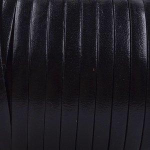 Zwart Plat italian Leer Zwart 5x1.5mm - prijs per cm