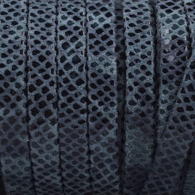 Grijs Plat nappa Leer Aqua grey snake 5x1.5mm - prijs per cm