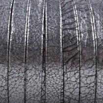 Zilver Plat nappa Leer Vintage silver metallic 5x1.5mm - prijs per cm