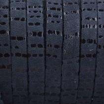Zwart Plat nappa Leer Suede zwart stripes 5x1.5mm - prijs per cm