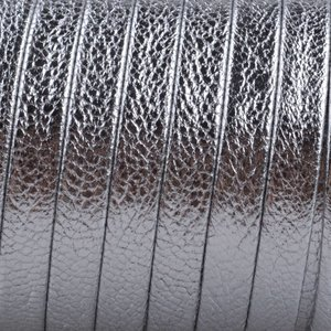 Zilver Plat nappa Leer Zilver metallic 5x1.5mm - prijs per cm