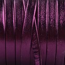 Paars Plat nappa Leer Metallic fuchsia paars 5x1.5mm - prijs per cm