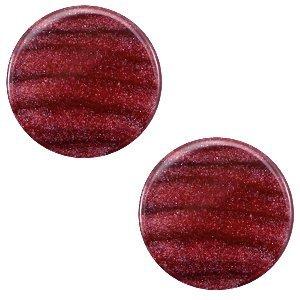 Rood Platte cabochon polaris Sparkle dust Aubergine red 12mm