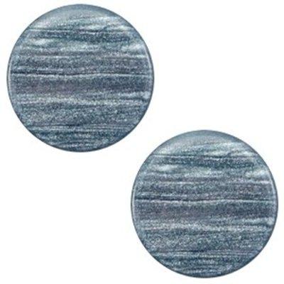 Blauw Platte cabochon polaris Sparkle dust Rustic blue 12mm