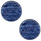 Blauw Platte cabochon polaris Sparkle dust Montana blue 12mm