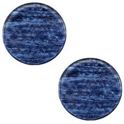 Blauw Platte cabochon polaris Sparkle dust Montana blue 12mm