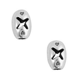 Zilver Kraal ovaal X Ø2mm Zilver DQ 8x5mm