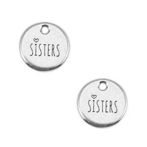Zilver Bedel muntje 'sisters' Zilver DQ 12mm