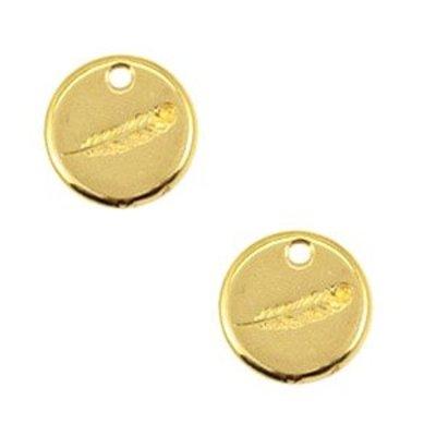 Goud Bedel muntje veer Goud DQ 12mm