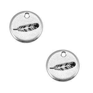Zilver Bedel muntje veer Zilver DQ 12mm