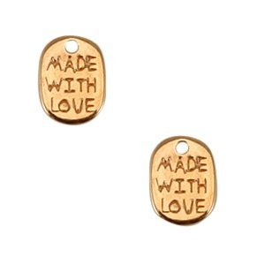 Rosegoud Bedel muntje 'made with love' Rosegoud DQ 11x8mm