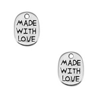 Zilver Bedel muntje 'made with love' Zilver DQ 11x8mm