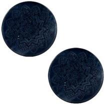 Zwart Cabochon polaris Mandala print matt Black 20mm