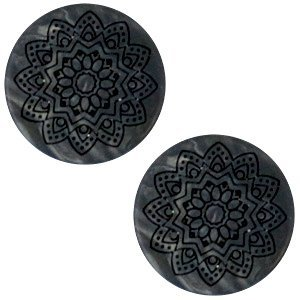 Zwart Cabochon polaris Mandala print matt Black anthracite 20mm