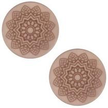 Bruin Cabochon polaris Mandala print matt Greige 20mm
