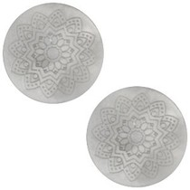 Grijs Cabochon polaris Mandala print matt Ice grey 20mm