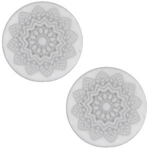 Grijs Cabochon polaris Mandala print matt White grey 20mm