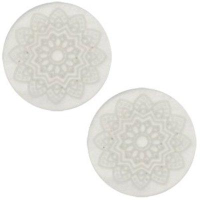 Grijs Cabochon polaris Mandala print matt Light silver shade 20mm