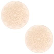 Roze Cabochon polaris Mandala print matt Vintage shell rose 20mm