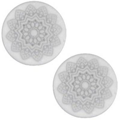 Grijs Cabochon polaris Mandala print matt White grey 12mm