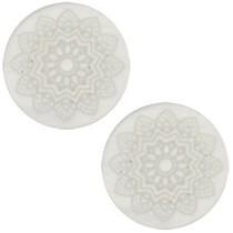 Grijs Cabochon polaris Mandala print matt Light silver shade 12mm