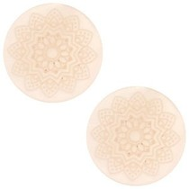 Roze Cabochon polaris Mandala print matt Vintage shell rose 12mm
