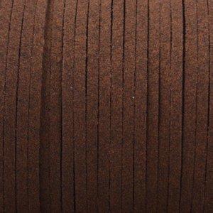Bruin Imitatie suede donker rood bruin 3x1,5mm -3 meter