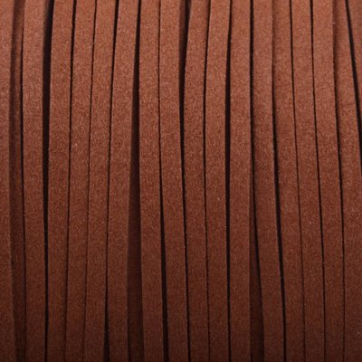 Bruin Imitatie suede donker cognac bruin 3x1,5mm -3 meter