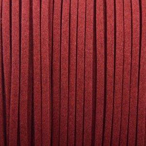 Rood Imitatie suede bordeaux rood 3x1,5mm - 2 meter