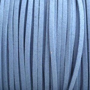 Blauw Imitatie suede hemels blauw 3x1,5mm -3 meter