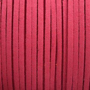 Roze Imitatie suede roze rood 3x1,5mm - 2 meter