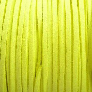 Geel Imitatie suede fluor geel 3x1,5mm - 2 meter