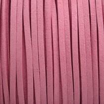 Roze Imitatie suede flamingo roze 3x1,5mm - 3 meter