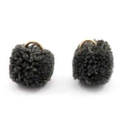 Grijs Pom pom bedels Anthracite black Gold 15mm