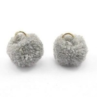 Grijs Pom pom bedels Grey Gold 15mm