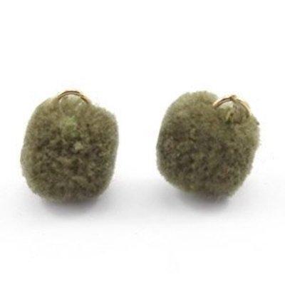 Groen Pom pom bedels Olive green Gold 15mm