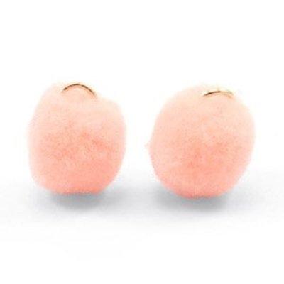 Oranje Pom pom bedels Pastel peach Gold 15mm