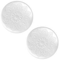 Wit Cabochon polaris Mandala print matt White 12mm