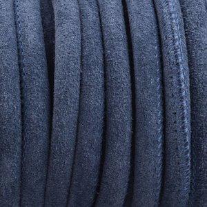 Blauw Stitched nappa leer PQ Suede jeans blue 4mm - prijs per cm