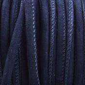 Blauw Stitched nappa leer PQ Suede dark jeans blue 4mm - prijs per cm