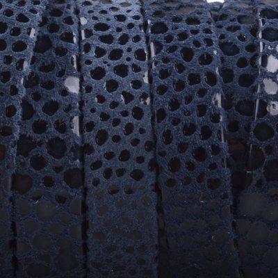 Blauw Plat nappa leer Navy blue spots 10x2mm - prijs per cm