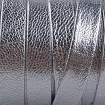 Zilver Plat nappa leer Zilver metallic 10x2mm - prijs per cm