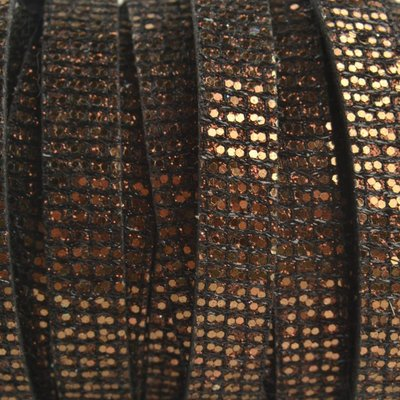 Bruin Plat Italian leer Glitter koper bruin 10x2mm - prijs per cm
