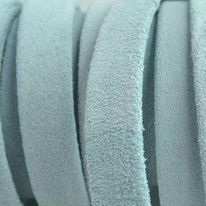 Blauw Plat nappa leer Suede sky blue 10x2mm - prijs per cm