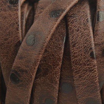 Bruin Plat nappa leer Brown big dots 10x2mm - prijs per cm