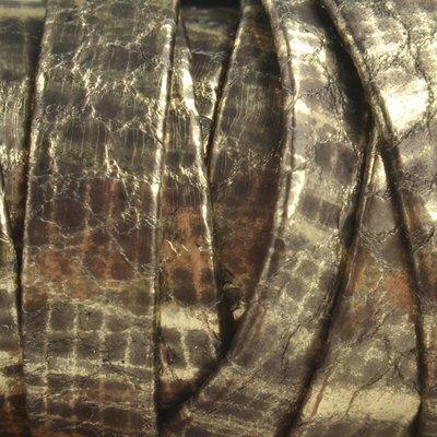 Goud Plat nappa leer Grey gold metallic 10x2mm - prijs per cm